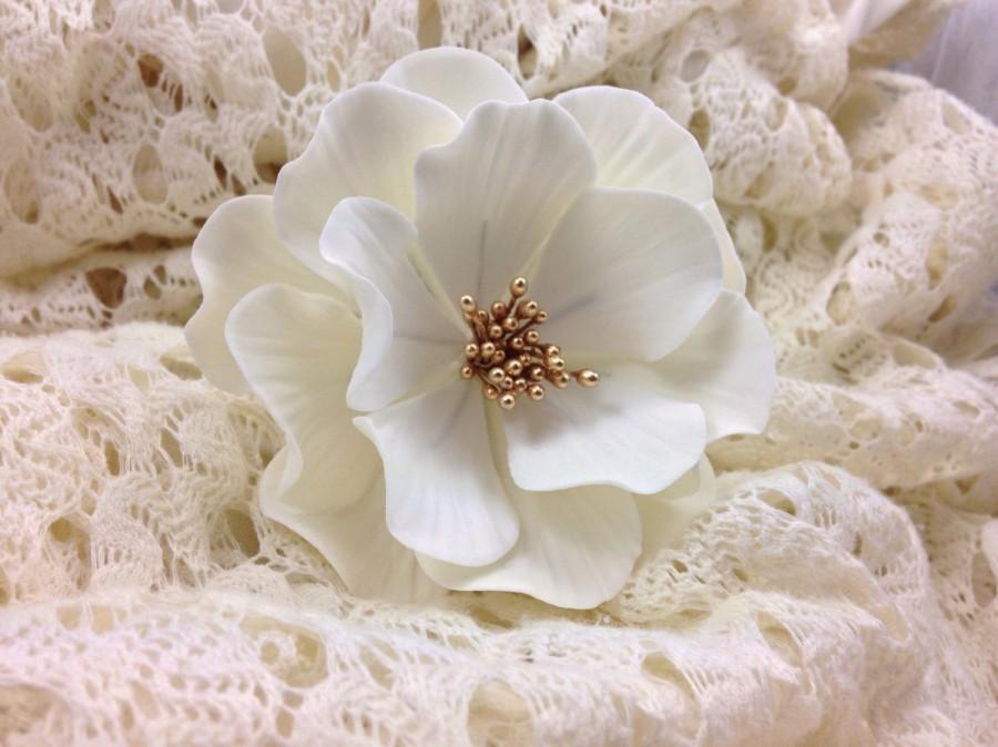 Wedding - White and Gold Open Rose Sugar Flower, wedding cake topper, gumpaste flowers, modern wedding, boho chic wedding, white sugar flowers