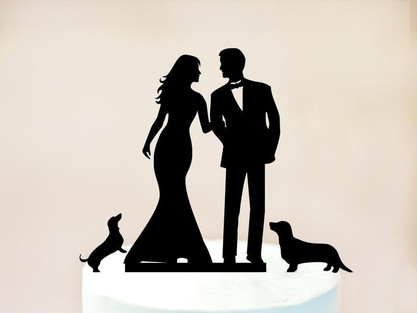 Hochzeit - Wedding cake topper with cat and dogs, cake topper + dogs, silhouette cake topper for wedding with pets, bride and groom cake topper (1056)