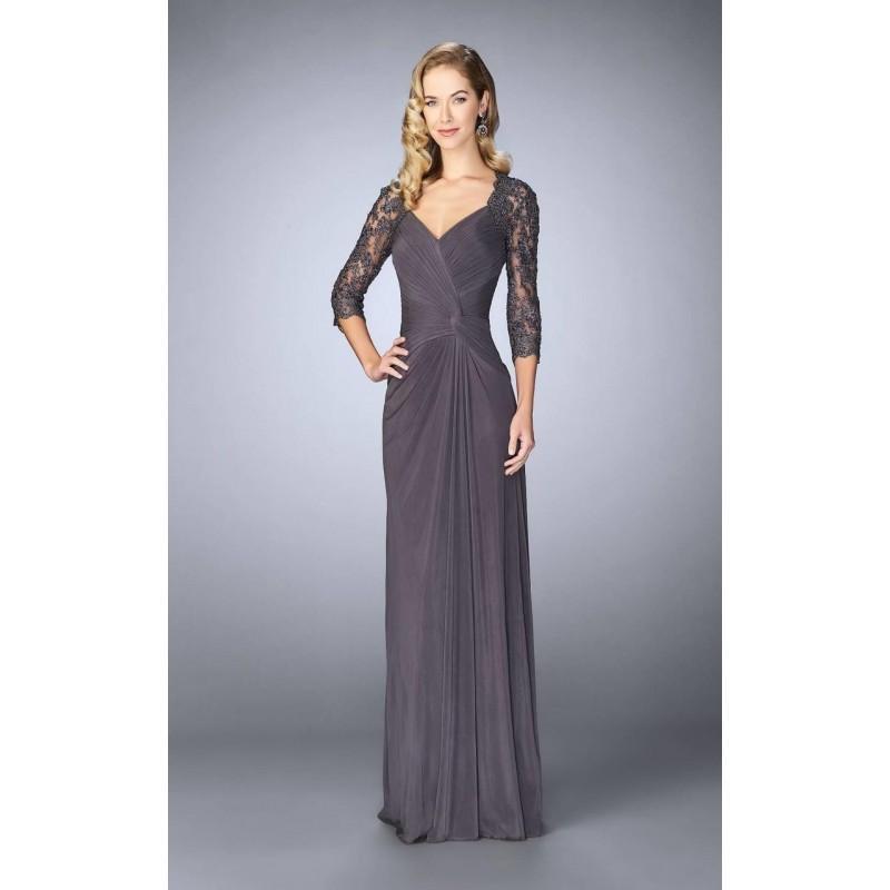 Wedding - La Femme - 23244 Ruched V-Neck Column Dress - Designer Party Dress & Formal Gown