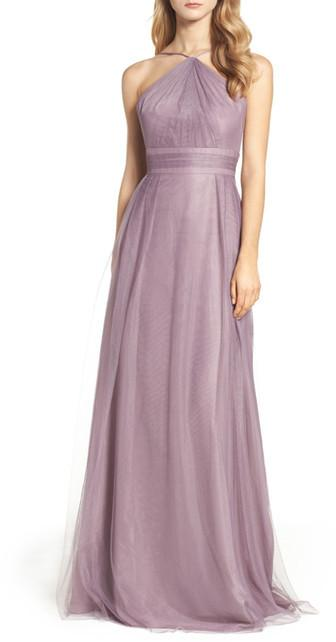 زفاف - MONIQUE LHUILLIER BRIDESMAIDS Tulle Halter Style Gown