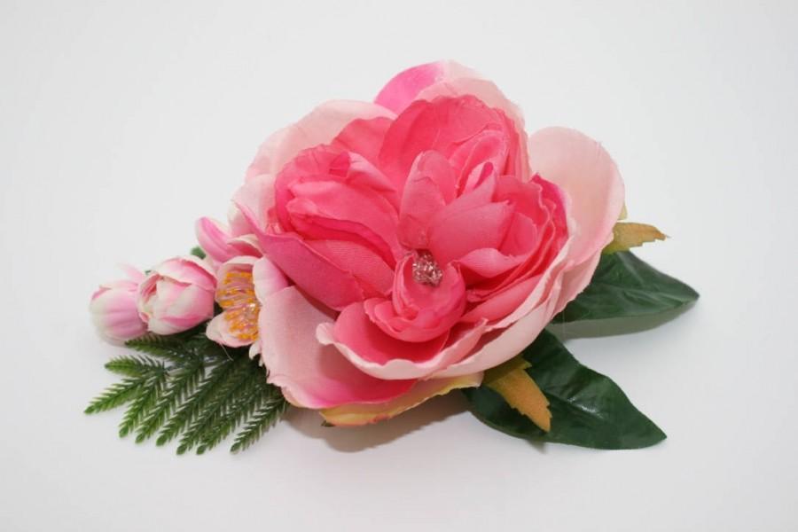 Wedding - Pink Peony Bridal flower hair clip Wedding Silk flower Floral headpiece Rustic hair piece Blush hair clip Winter wife gift Large peony clip - $35.00 USD