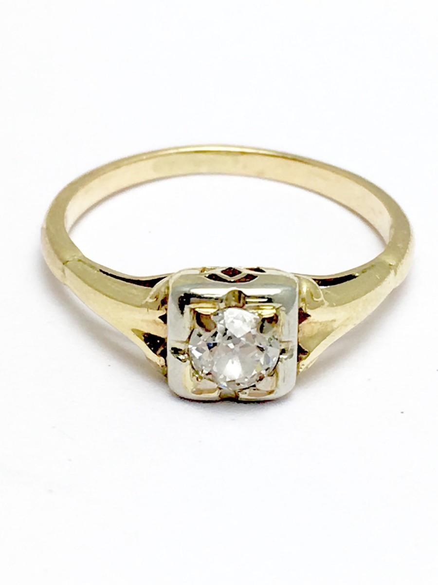 زفاف - 14K Yellow Gold Diamond Engagement Ring -  Center Diamond 1/4 Carat Old European Cut - Size 4 1/2 - Anniversary - Promise Ring # 4190