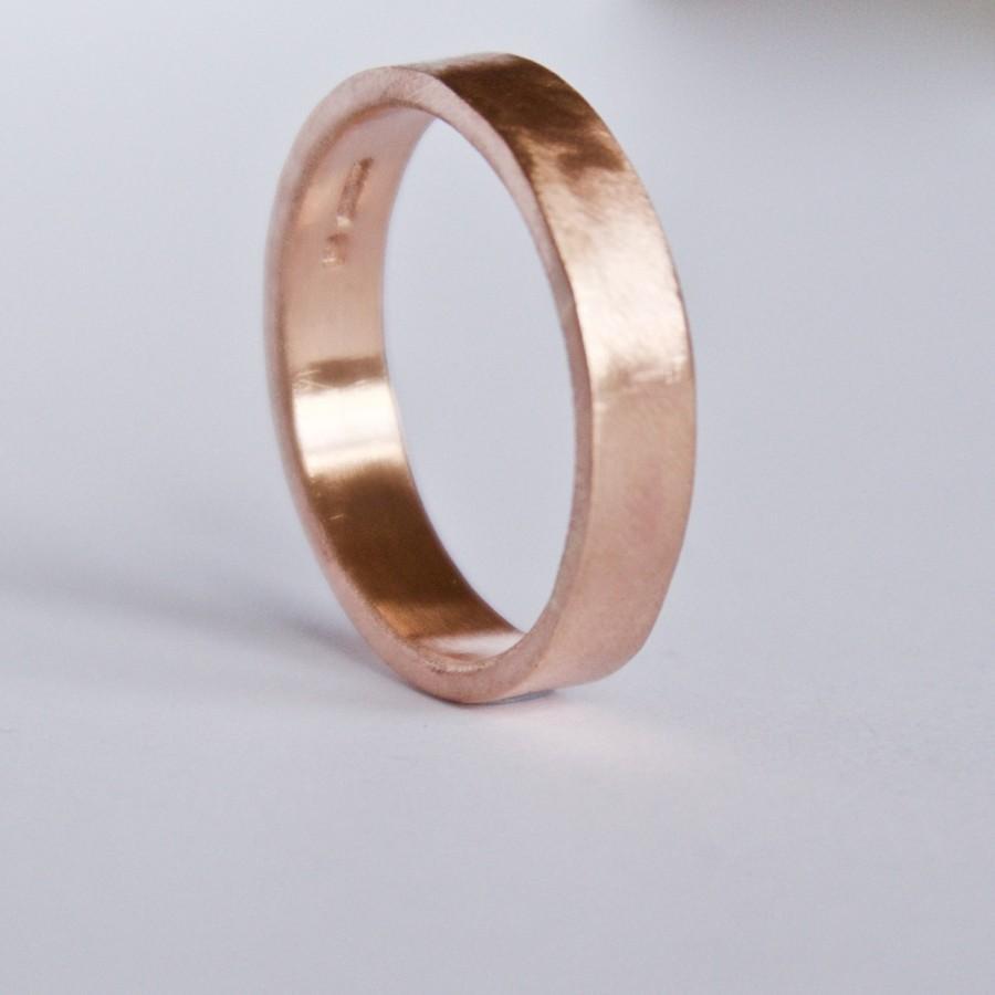 زفاف - Rose Gold Plain Wedding Ring - 9 Carat - Flat Band - Simple Wedding Band - Red Blush Pink Gold - Unisex - Men's Women's