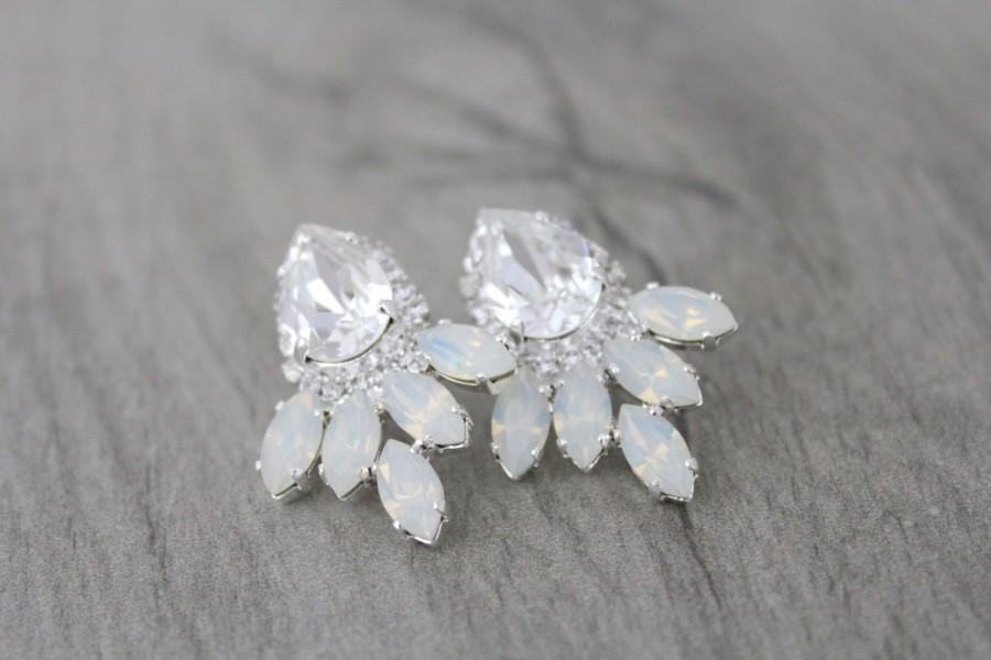 Bridal Earrings Opal Crystal Earrings Wedding Jewelry White Opal