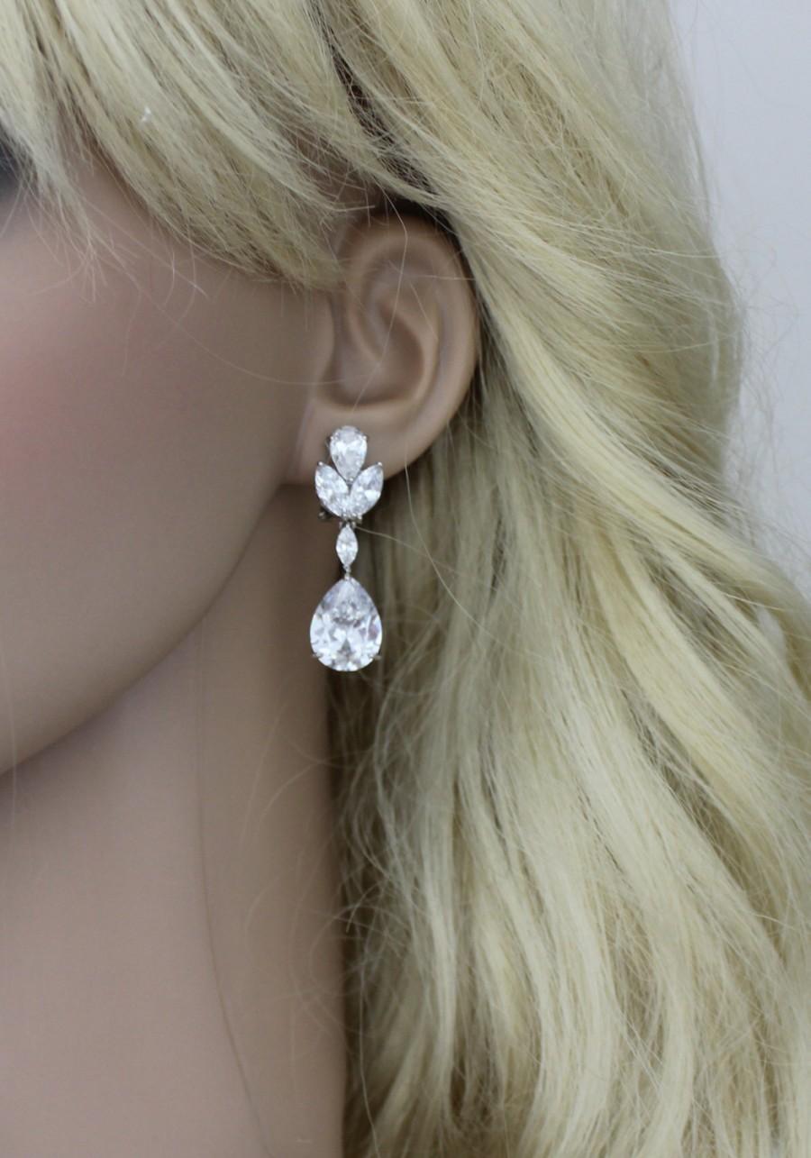 زفاف - Crystal Bridal earrings, Teardrop Wedding earrings, Bridal jewelry, Cubic zirconia earrings, CZ earrings, Clip on earrings, Bridesmaid gift