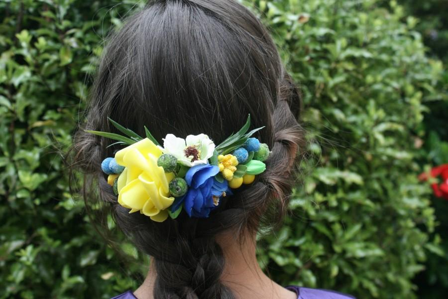 Wedding - Yellow blue Bridal flower hair comb Wedding hair comb Decorative comb Floral hair comb Bridal hair piece Bridal hair comb Christmas Gift - $18.00 USD