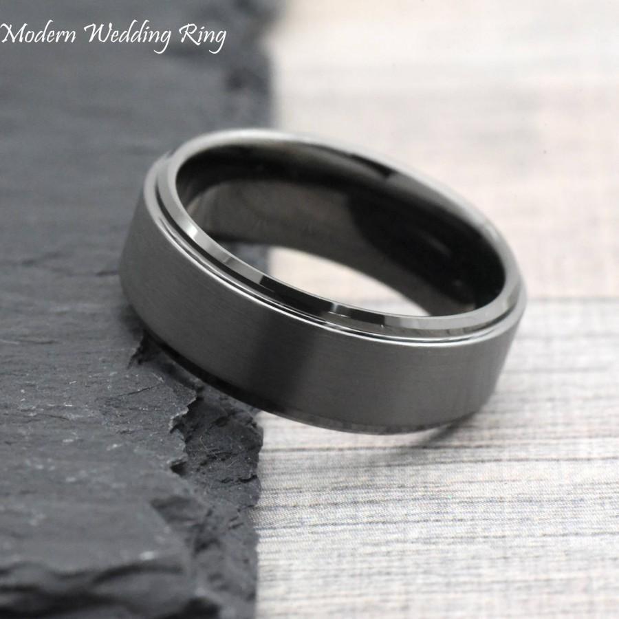 Свадьба - Dark Grey Wedding Band, Gunmetal Color Men's Wedding Band, Unique Gray Tungsten Wedding Band Mens, Mens Promise Ring, Anniversary Gift