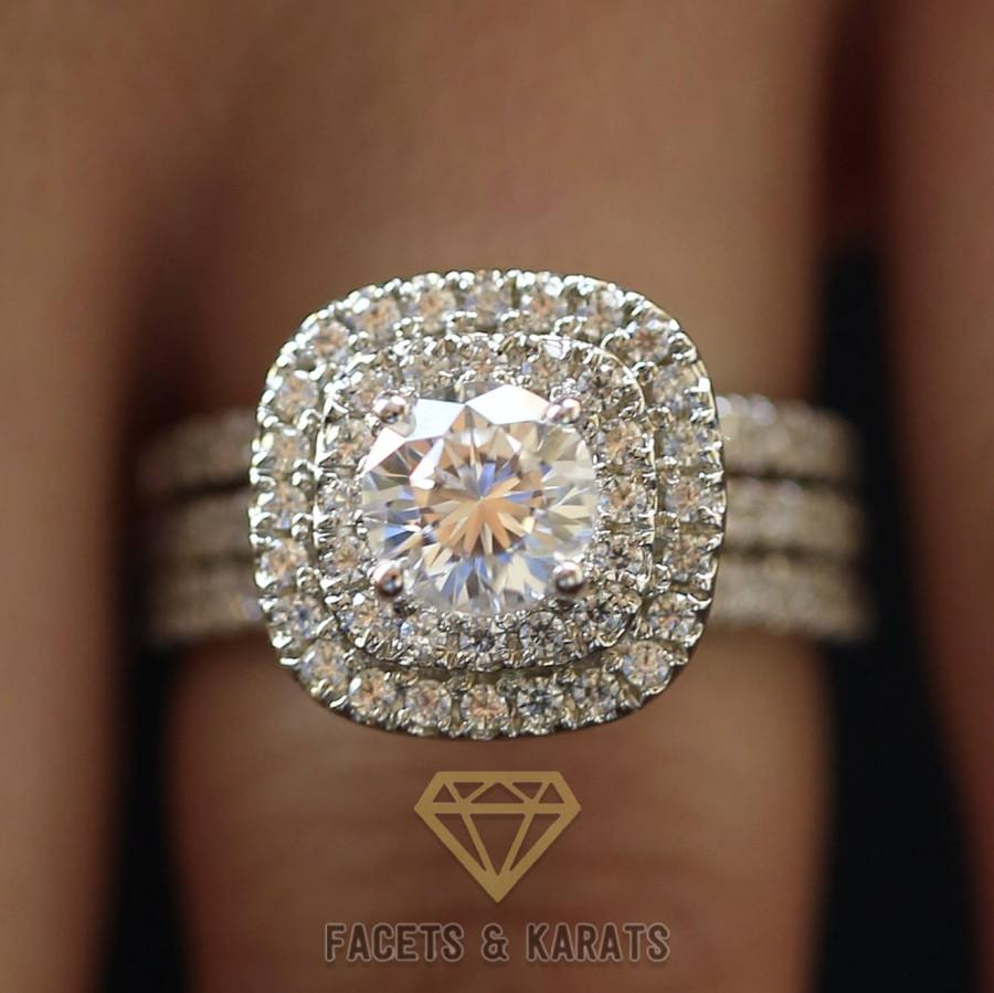 3 Ctw Double Halo Engagement Ring Bridal Wedding Set 14k Solid White