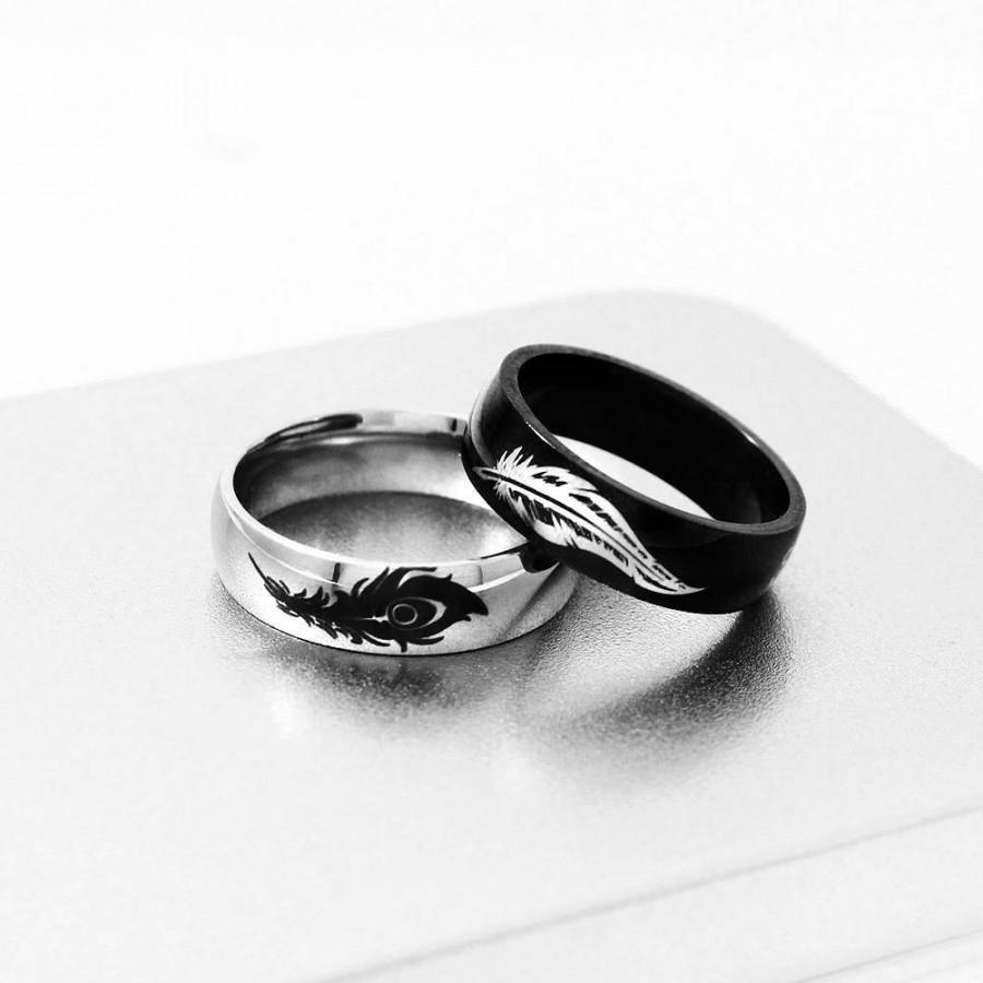 Wedding - Rakan and Xayah Ring, Couple Ring, Friendship Ring, Rakan Xayah Feathers, Gamer Gift, Geekery, Couples Rings, Couple Rings, Custom Ring