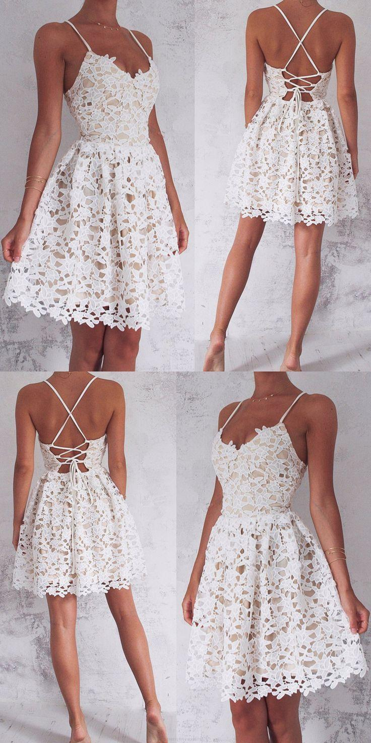 Hochzeit - Ivory Homecoming Dresses, Short Party Dresses, Sleeveless Homecoming Dresses, Bandage Prom Dresses, Mini Prom Dresses WF02G46-712
