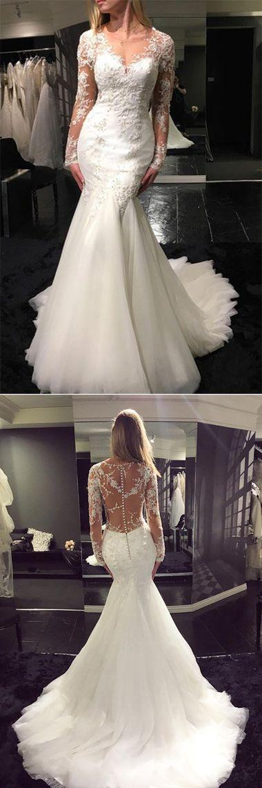 Свадьба - Mermaid Tulle Scoop Neck Sweep Train Lace Wedding Dresses With Appliques, SW124