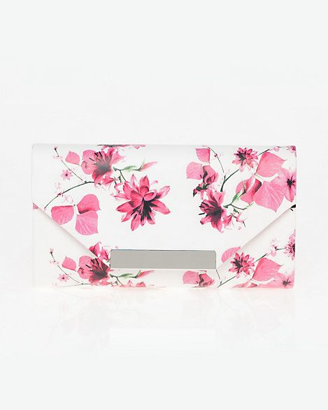 Wedding - Floral Print Leather-Like Flapover Clutch