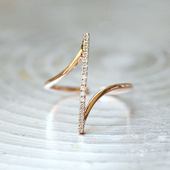 Wedding - Pave Rose Gold Vertical Bar Ring Sterling Silver