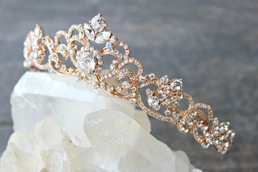 Wedding - Bridal Tiara Swarovski Crystal Tiara - SELINA Rose Gold Swarovski Bridal Tiara, Gold Crystal Wedding Crown Rhinestone Tiara, Wedding Tiara
