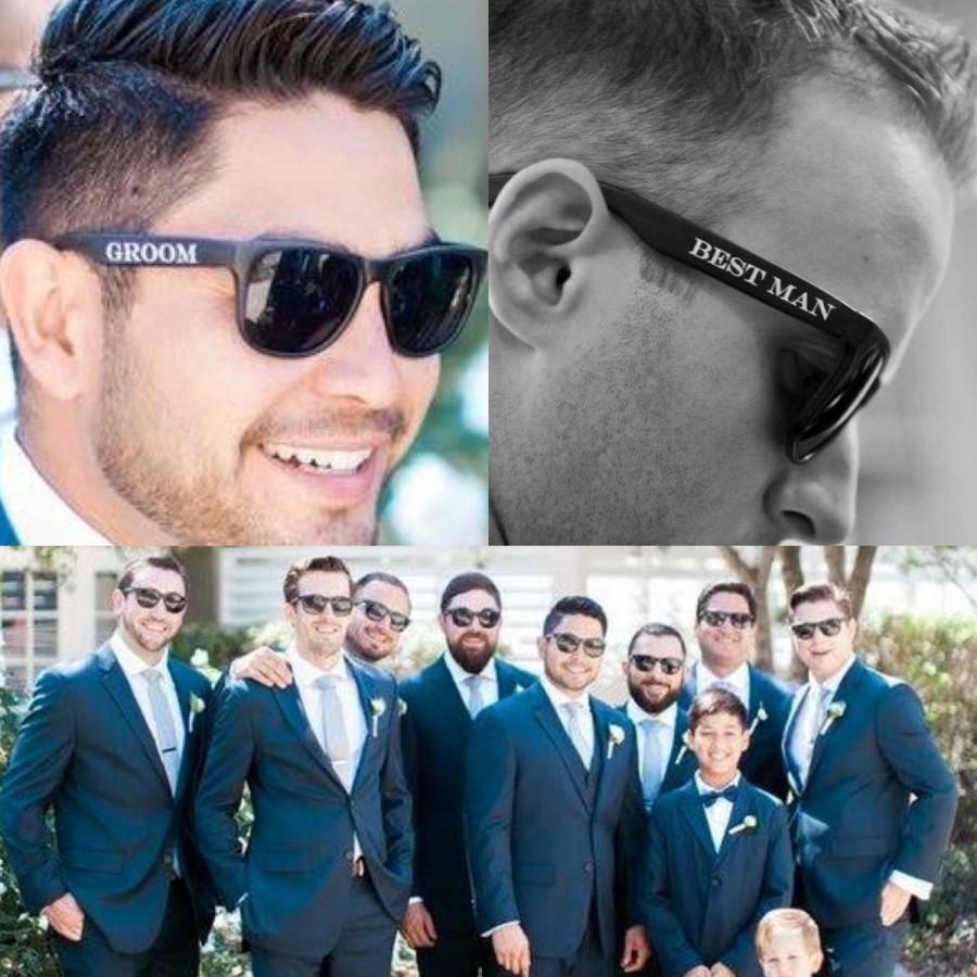 Mariage - Printed Groomsmen Sunglasses (Groom, Best Man & Groomsman), Best Man Sunglasses, Wedding Sunglasses, Groom Glasses, Cheap Groomsmen Gifts