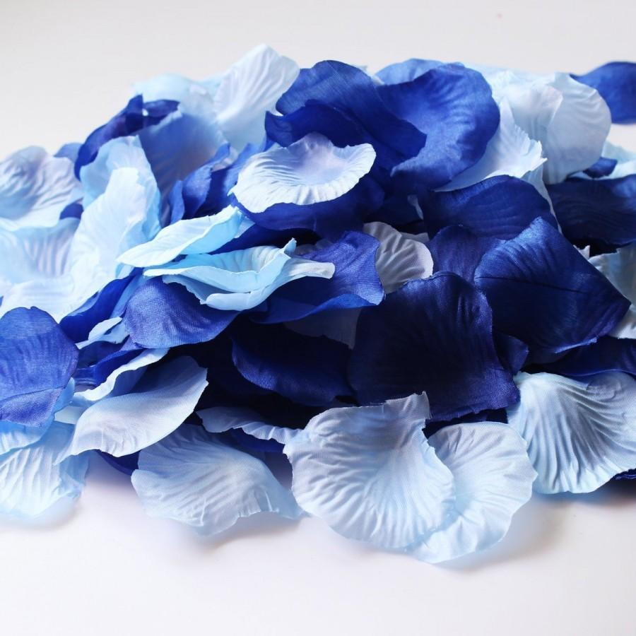600pcs Mixed Royal Blue Aqua Blue Silk Rose Petals Wedding Flowers