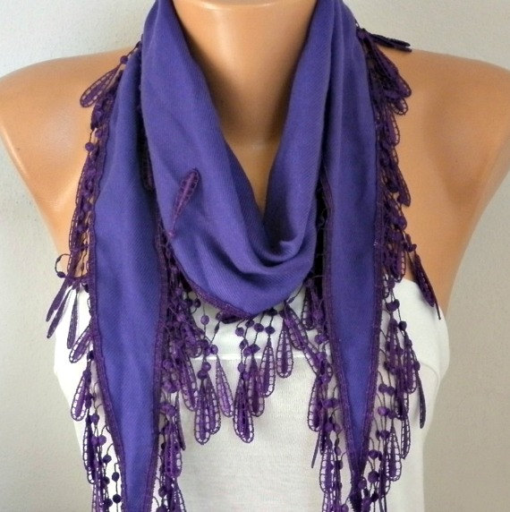 Mariage - Purple Pashmina Scarf,spring,wedding scarf,gift for her,Cowl Scarf with Lace Edge - fatwoman