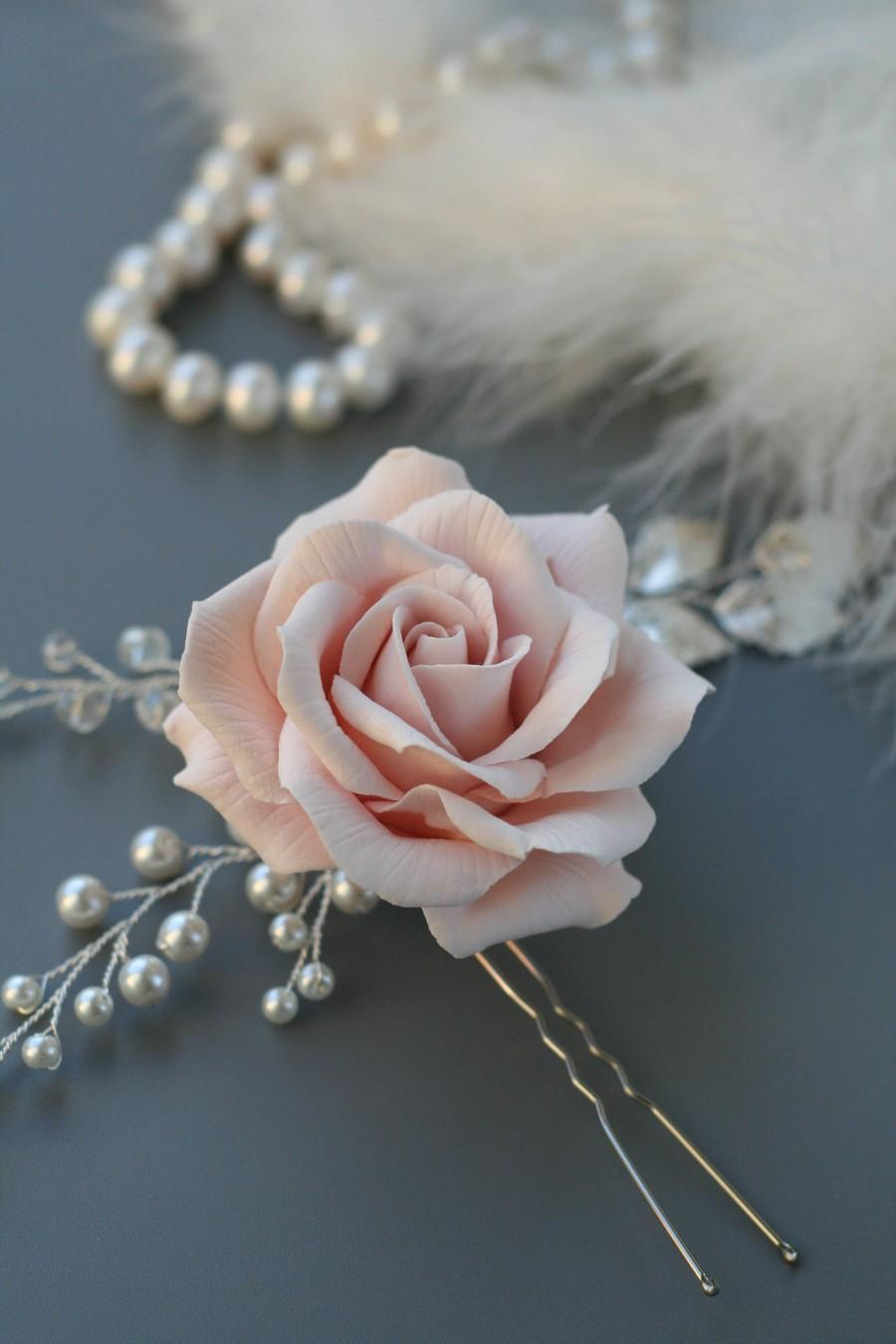 Wedding - Blush Rose Bridal hair flower, Flower Bridal hair pin, Blush Wedding hair flower, Wedding hair pin, Rose hair pin, Bridal hair accessories - $40.00 USD