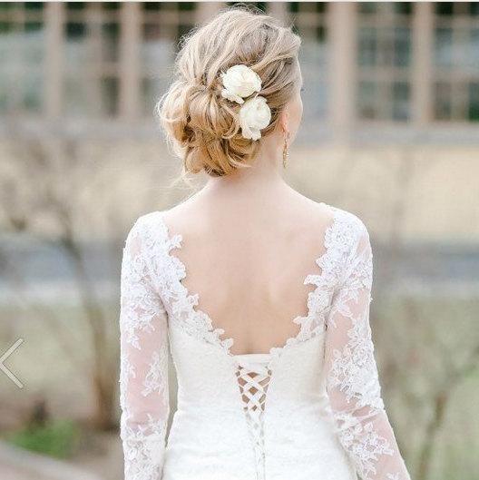 Wedding - Ivory Rose Bridal hair flower Ivory Wedding hair flower Bridal hair clip Rose clip Bridal flower hair Bridal hair accessories - $25.00 USD