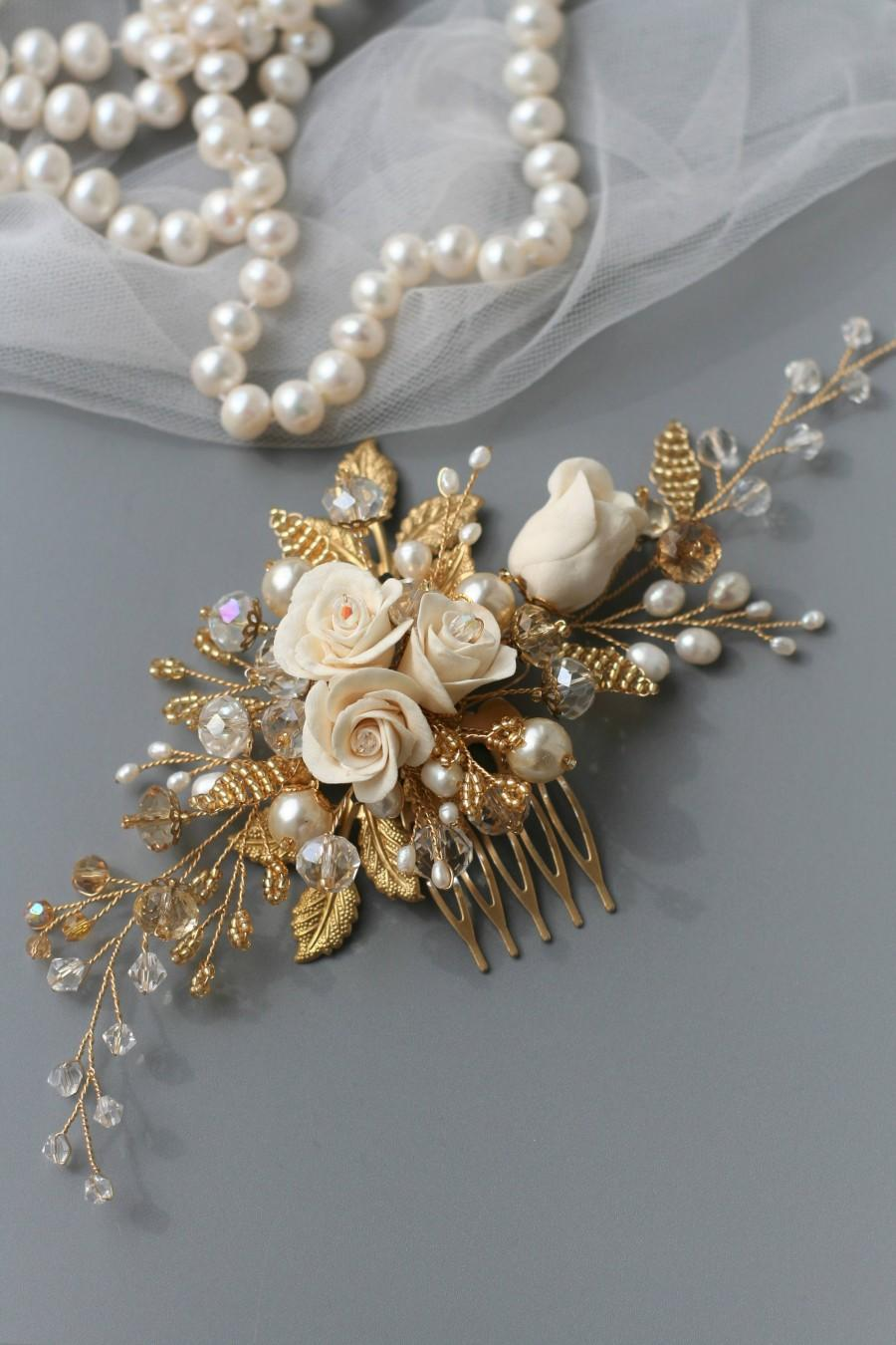 Wedding - Rose Comb, Rose Wedding hair comb, Bridal hair comb, Bridal hair accessories, Bridal comb, Pearl headpiece, Wedding hair accessories - $75.00 USD