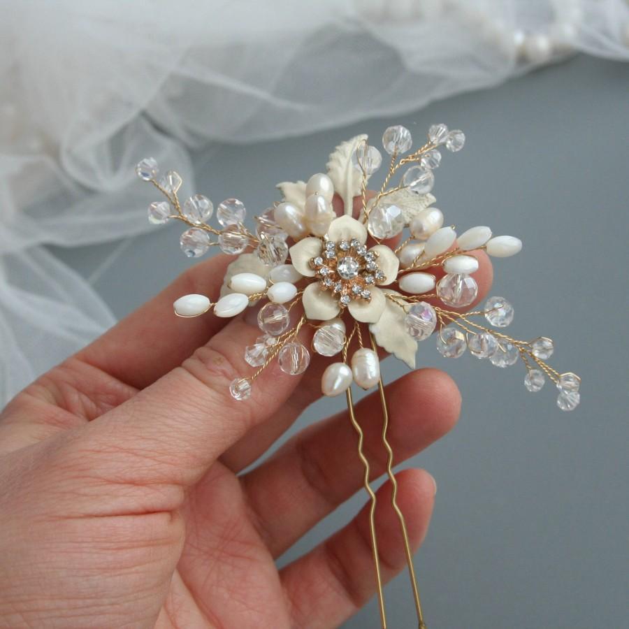 Wedding - Wedding hair pin, Bridal hair pin, Flower hair pin, Bridal hair accessory, Bridal flower pins, Wedding flower pin, Wedding hair accessories - $35.00 USD