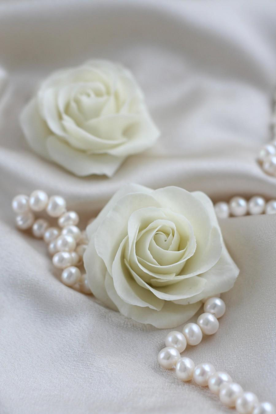 Wedding - Ivory flower Rose hair Wedding Hair flower Bridal Hair accessories Bridal Hair flower Bridal hair clip Wedding hair accessories Flower clip - $25.00 USD