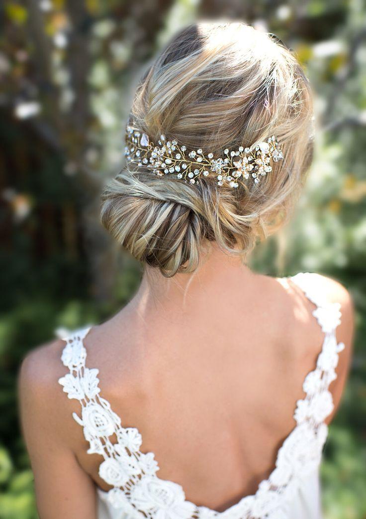Свадьба - Wedding Hair Vine / Wire Hairpiece / Half Halo / Wedding Headband / Bridal Hair / Boho Hair Accessory / LottieDaDesigns - 'VIOLETTA'