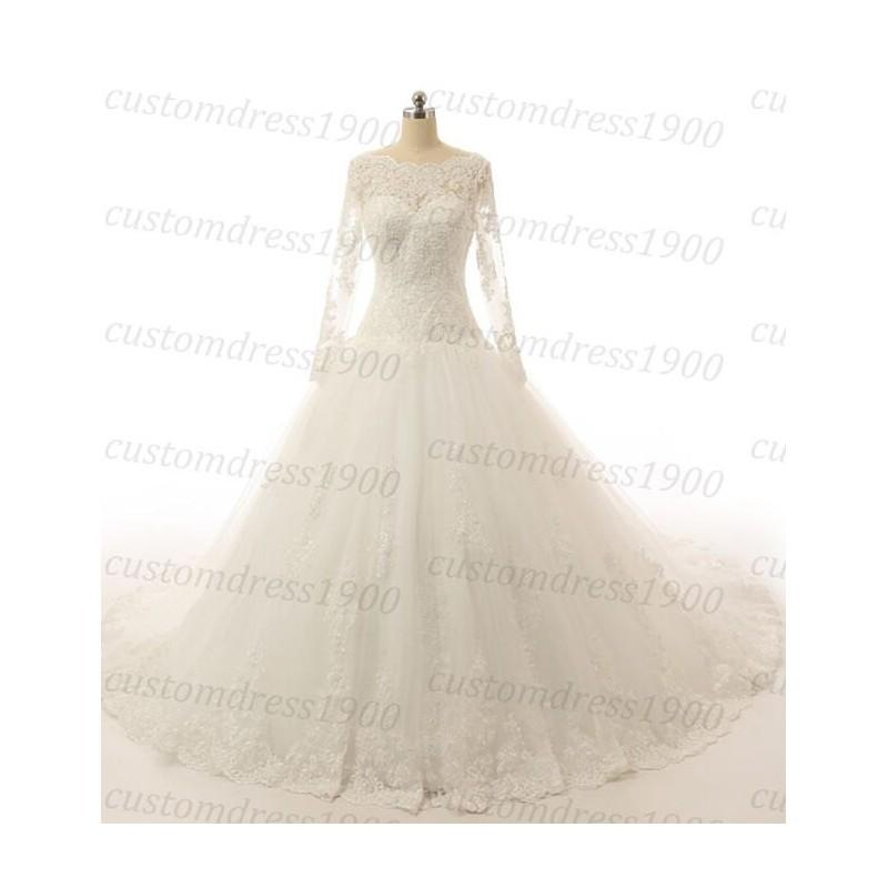 Свадьба - Long Sleeve Elegant Wedding Dress Handmade Ball Gown Bridal Dress Lace Tulle White Wedding Gowns - Hand-made Beautiful Dresses