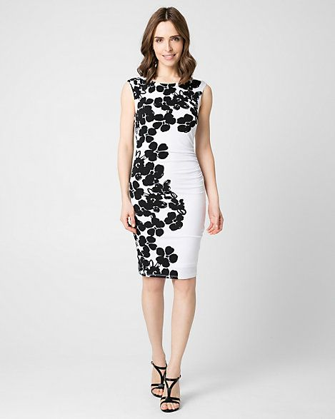 زفاف - Floral Print Knit Boat Neck Dress
