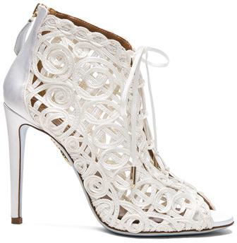 زفاف - Aquazzura Satin Lattice Kya Bridal Booties