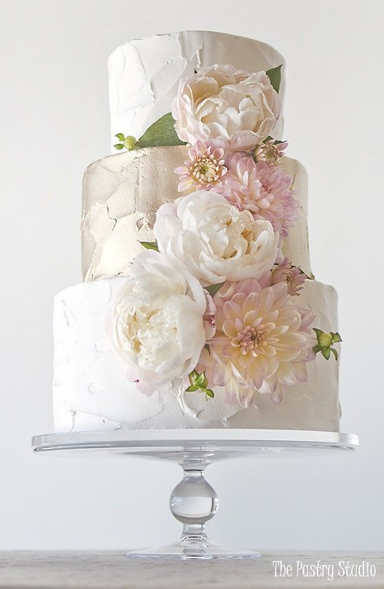 Wedding - White And Gold Floral Cake