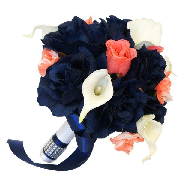 "Düğün - 8"" Bouquet - Navy Blue and Coral Roses with White Calla Lilies - Artificial Bouquet"