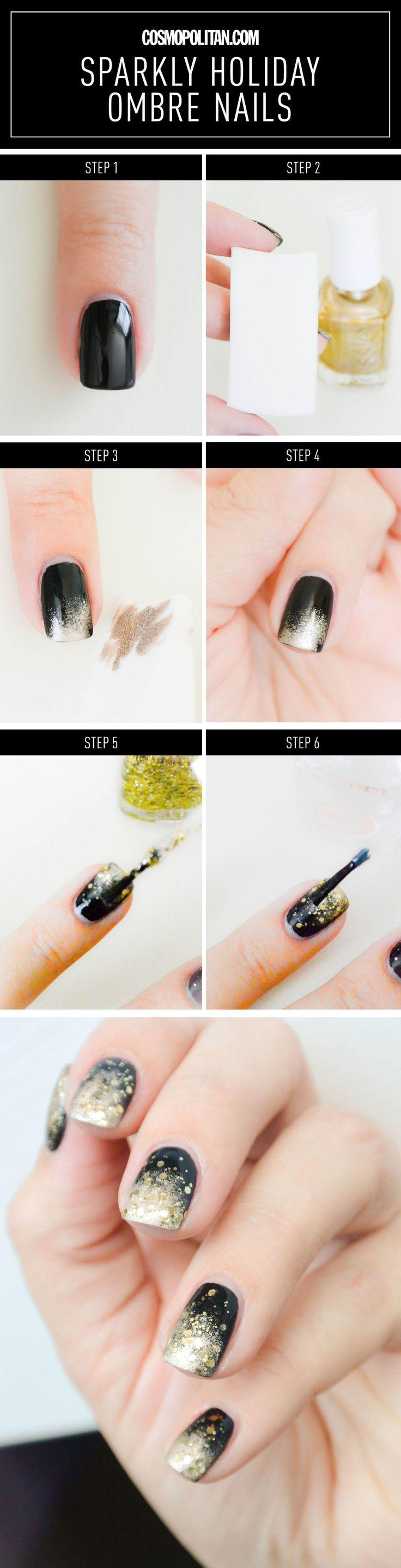 Wedding - Nail Art How-To: Sparkly Black And Gold Ombré Mani