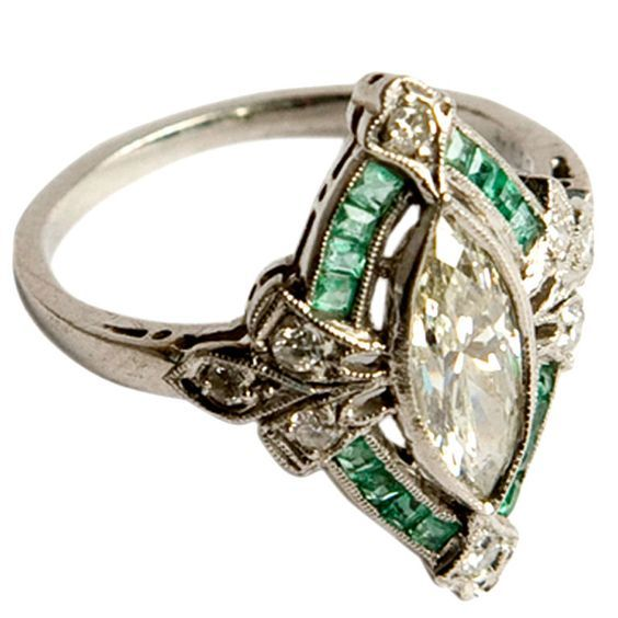 Wedding - Art Deco Diamond And Emerald Engagement Ring