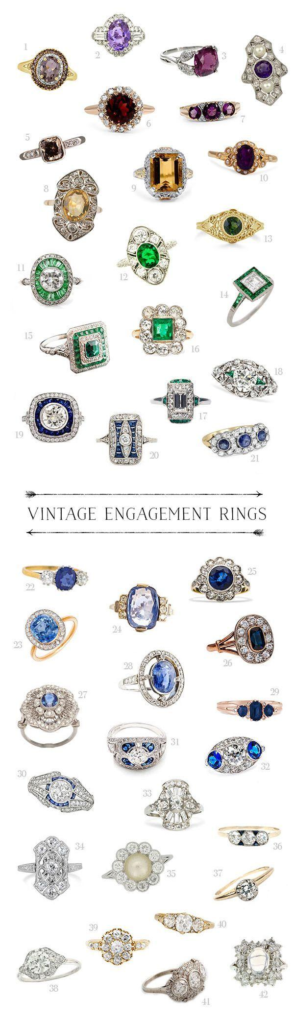 Wedding - Kathryn Loves... A Rainbow Of Vintage Engagement Rings