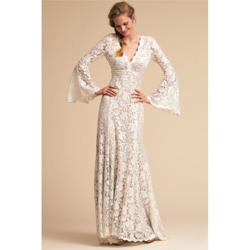 7af8ee57c BHLDN Spring Summer 2018 Lucca Fit   Flare V-Neck Flare Sleeves Vintage  Sweep Train Ivory Lace Zipper Up Bridal Dress - Fantastic Wedding Dresses