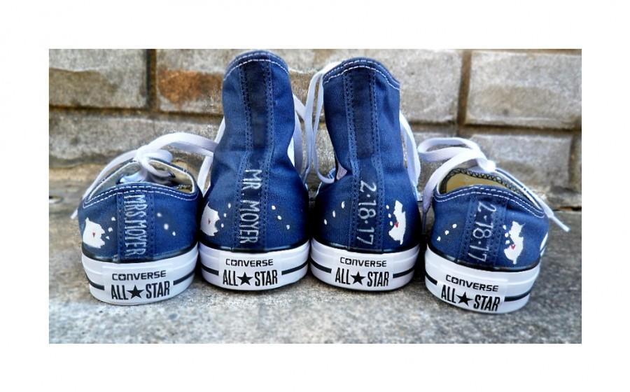 Something Blue Custom Bride Groom Home State Converse Wedding ...