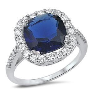 Wedding - A Perfect 7CT Cushion Cut Blue Sapphire Halo Ring