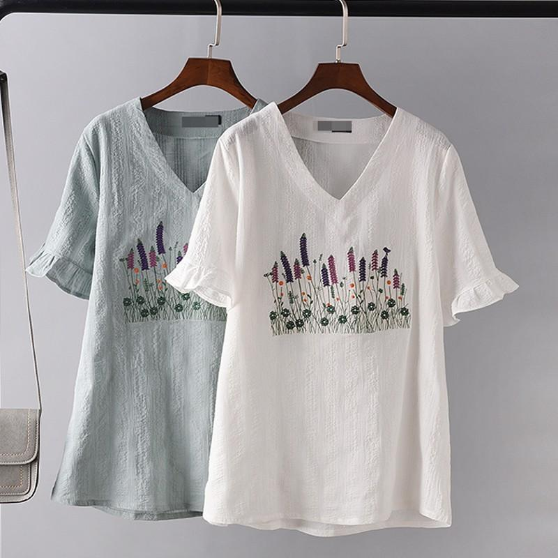 Wedding - Embroidery Plus Size V-neck Short Sleeves Cotton Ramie Summer T-shirt - Lafannie Fashion Shop