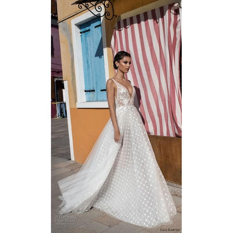 Wedding - Gali Karten 2018 Embroidery Tulle Aline Sweet V-Neck Sleeveless Sweep Train Ivory Wedding Gown - Rolierosie One Wedding Store