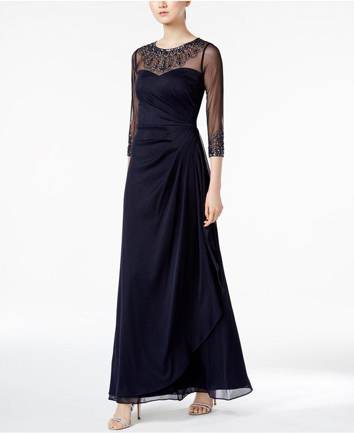 زفاف - Alex Evenings Illusion Embellished A-Line Gown