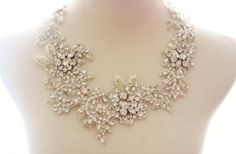 Wedding - Bridal Crystal Rhinestone Lace Statement Necklace, Bridal Statement Necklace