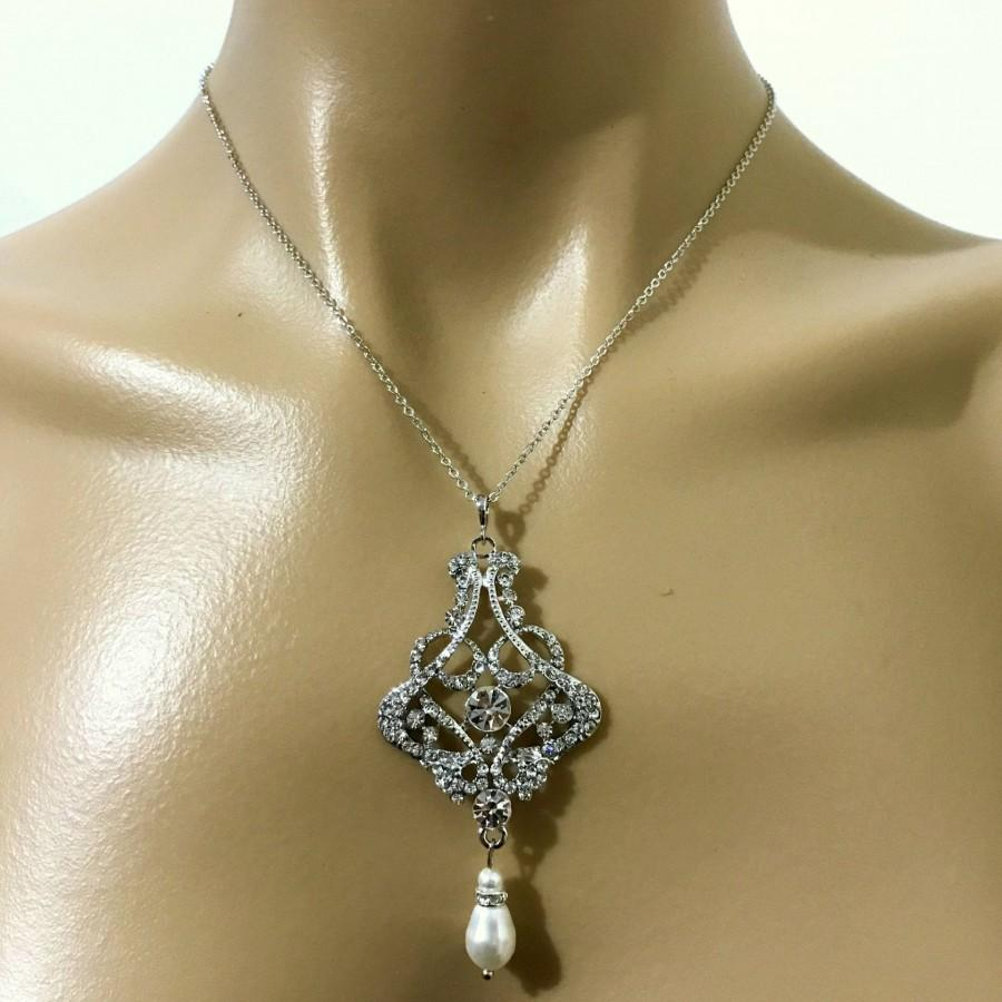 Wedding - Statement Bridal Necklace, Art Deco Wedding Necklace, Gatsby Wedding Jewelry, Crystal Pearl Necklace, Geometric Bridal Jewelry, CARMEN