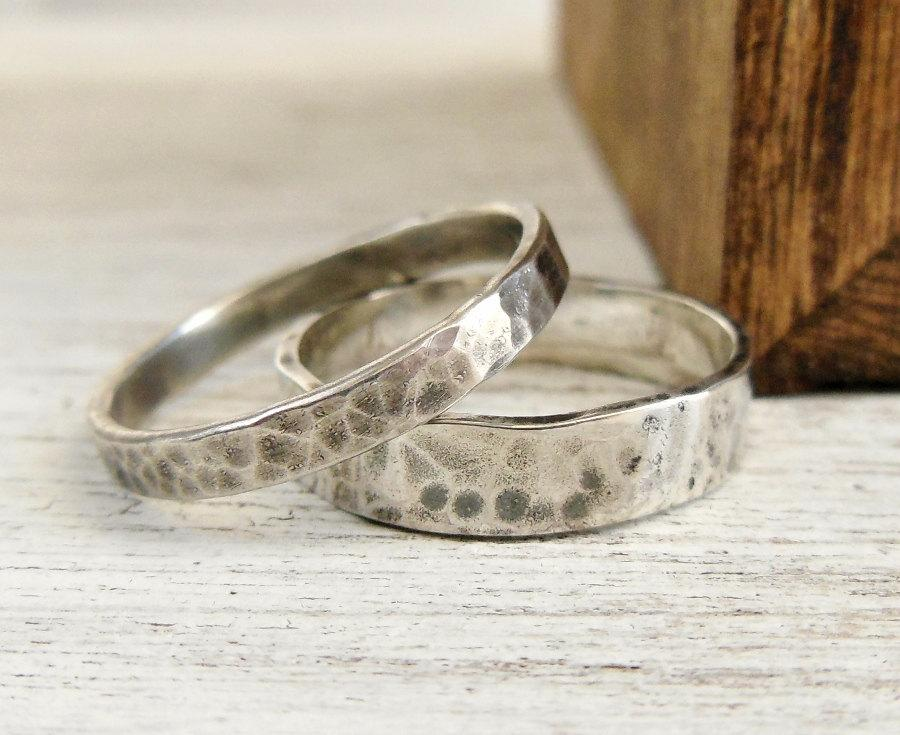 Wedding - Wedding Band Set - Sterling Silver Ring Set - Hammered Wedding Band for Him and Her