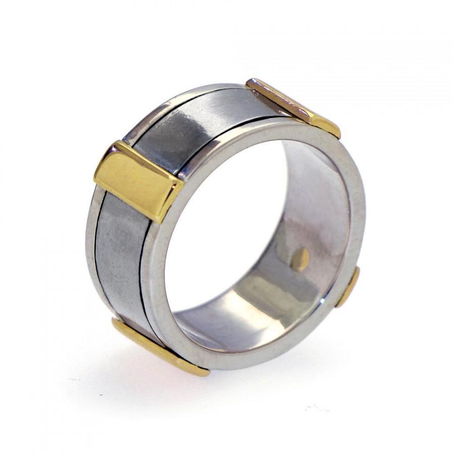 Wedding - Gold Men's Wedding Band, Stainless Steel Wedding Band, Sterling Silver Wedding Band for Men, Wide Wedding Band