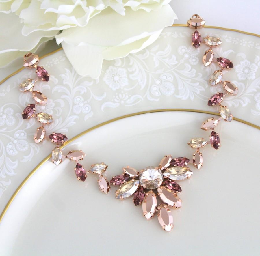 Wedding - Rose gold necklace, Blush Bridal necklace, Bridal jewelry, Statement necklace, Swarovski necklace, Wedding necklace, Wedding jewelry