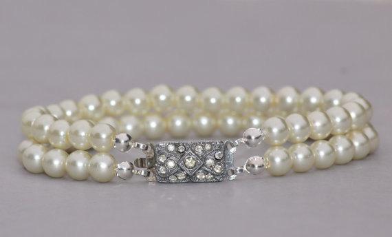 Wedding - 1920s AUTHENTIC Art Deco Pearl Bracelet,Multi Strand Pearl Bracelet,Silver Paste Rhinestone Paved Clasp,Faux Pearl,White,Bridal,Weddings