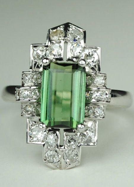 Wedding - Long Green Tourmaline Art Deco Diamond Ring