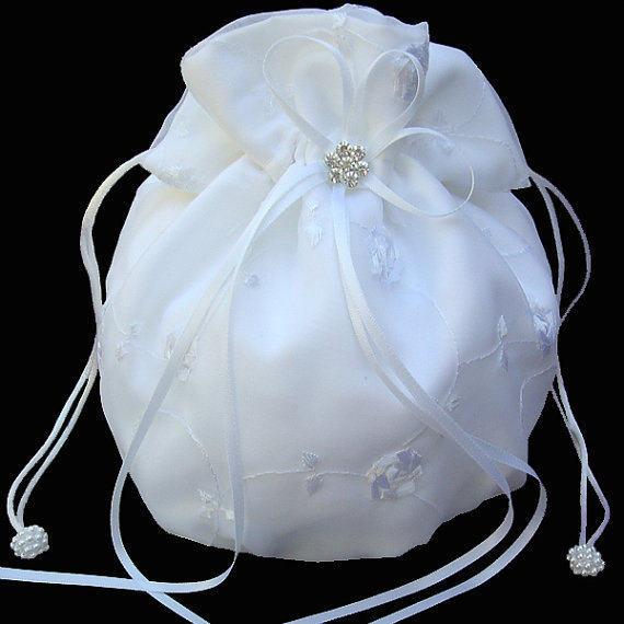 Bridal Money Bag Wedding Bride Dollar Dance White Satin Purse Ivory