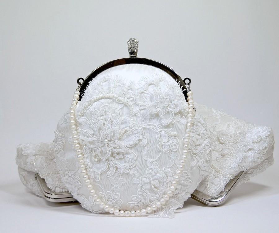 Hochzeit - EllenVintage Alencon Beaded and Appliquéd Lace  Silk Clutch in White off,  wedding clutch, Bridal clutch, Purse for wedding